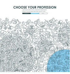professions doodle website template design vector image