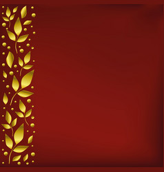 Red background with stripe of leaves on the left vector