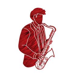 Saxophone musician orchestra instrument vector