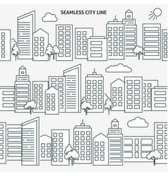 seamless city skyline versions in thin line style vector image