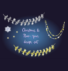Set detailed tinsel isolated on dark vector