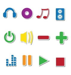 Set of music sticker icons vector image vector image