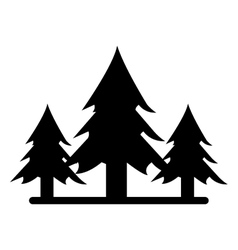 Silhouette wild pines forest tree vector