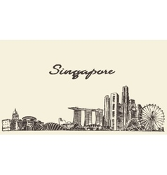 Singapore skyline drawn sketch vector