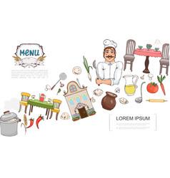 sketch russian cuisine elements concept vector image