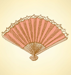 Sketch Spanish fan in vintage style vector image