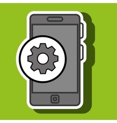 smartphone blue and gear isolated icon design vector image