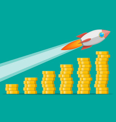 stack gold coins and space rocket ship vector image
