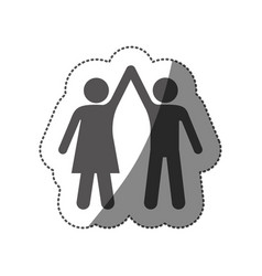 Sticker silhouette pictogram man and woman taken vector