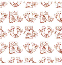 Tear off calendar on march 17 day seamless pattern vector