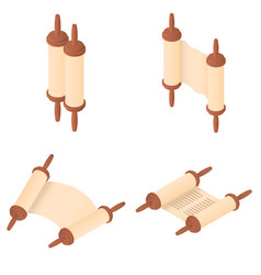 Torah scroll bible icons set isometric style vector