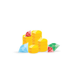 treasure stacks of coins diamons and rubins for vector image