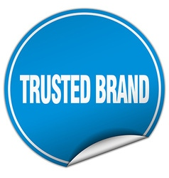 trusted brand round blue sticker isolated on white vector image