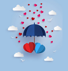 Twin heart under blue umbrella floating on the vector
