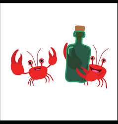 Two crabs with a bottle vector