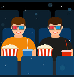 two men in the cinema in 3d glasses with popcorn vector image