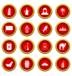 Uae travel icon red circle set vector