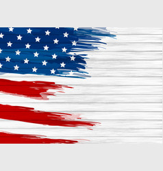 Usa flag paint on white wood background vector