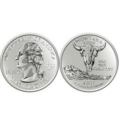 Usa money washington quarter 25 cent coin montana vector