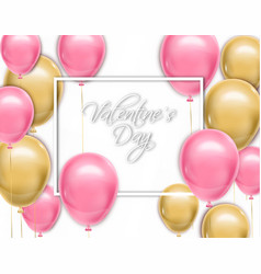 valentine day card with balloons realistic vector image
