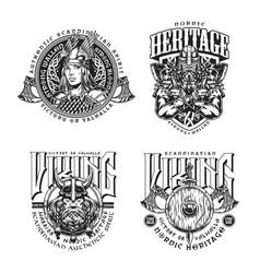 Viking vintage monochrome badges vector