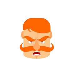Vintage irishman with red mustache angry emoji vector