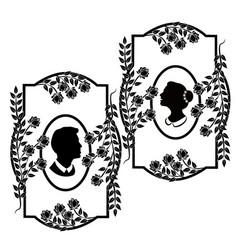 wedding silhouette flourishes 3 vector image
