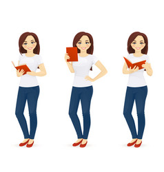 woman in jeans with book vector image