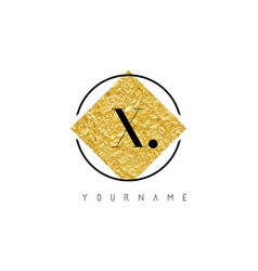 x letter logo with golden foil texture vector image