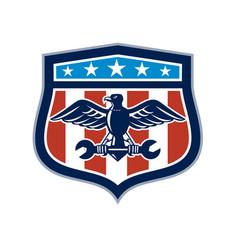 american eagle mechanic usa flag crest vector image