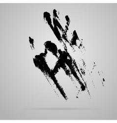 Black smeared hand imprint vector