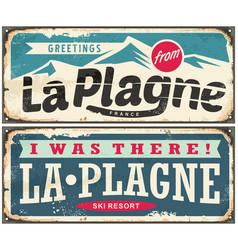 la plagne france retro souvenir signs set from one vector image vector image