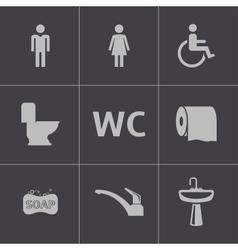 black toilet icons set vector image