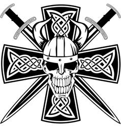 celtic cross and skull vector image