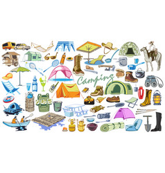 colored camping and hiking elements collection vector image vector image