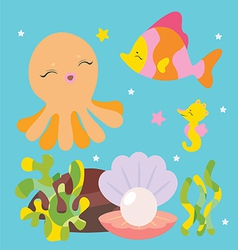 Cute sea characters vector image vector image