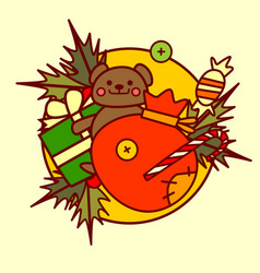 cute toys icon merry christmas and happy new year vector image