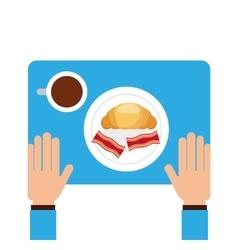 Delicious breakfast menu icon vector