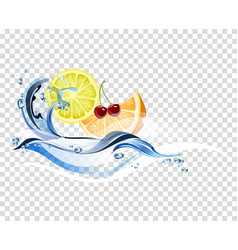 fresh fruits background vector image vector image