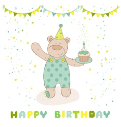 Happy Birthday and Party Card - Baby Bear vector image vector image