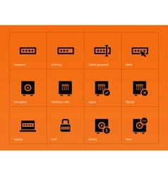 Password icons on orange background vector image vector image
