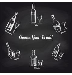 Sketch popular drinks on blackboard vector image