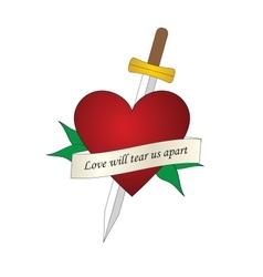 sword heart tattoo vector image vector image