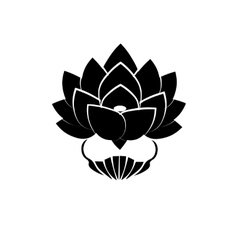 Black stylized image of a lotus flower on a white vector image vector image