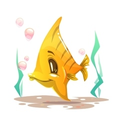 Cute cartoon yellow fish on the sea bottom vector image