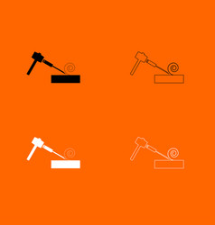 hammer and wood carpentry black and white set vector image vector image
