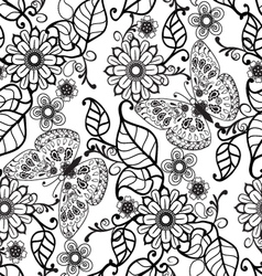 Hand drawn Decorative pattern with floral ornament vector image vector image