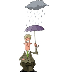 man under an umbrella vector image vector image