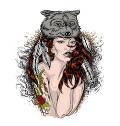 Portrait of a Girl in wolfs clothing vector image vector image