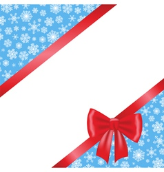 Red bow and ribbon and blue background with vector image vector image